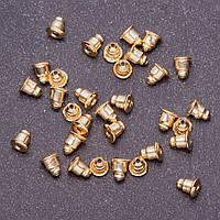 Фурнитура Заглушки для сережек пара d-5мм L -6мм цвет металла золото