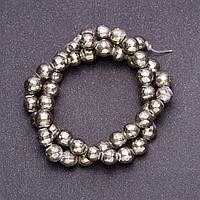 Бусины из натурального камня Пирит граненный шарик d-8-10(+-)мм нитка L-39см