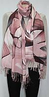 Шарф легкий, абстракция, светло-розовый с серым