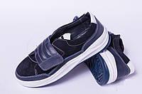 Туфли подростковые на липучке из натуральной замши и кожи от производителя модель ДТ - 10