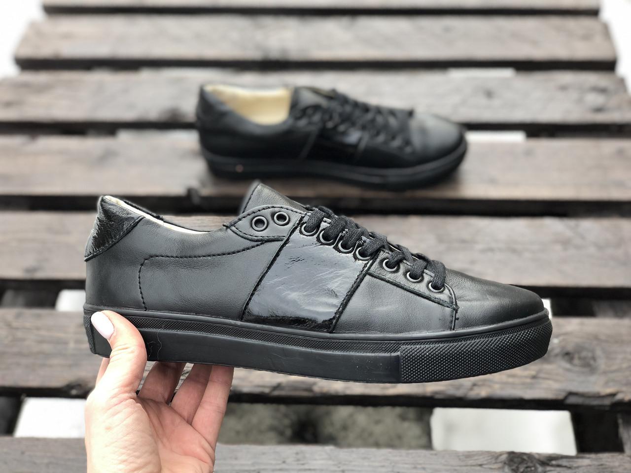Кеды №371-6 черная кожа + черный лак