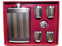 NF4-29 Подарочный Набор: фляга + 4 стопки + лейка, Фляга из нержавейки 240 мл, Подарочный набор фляга и рюмки