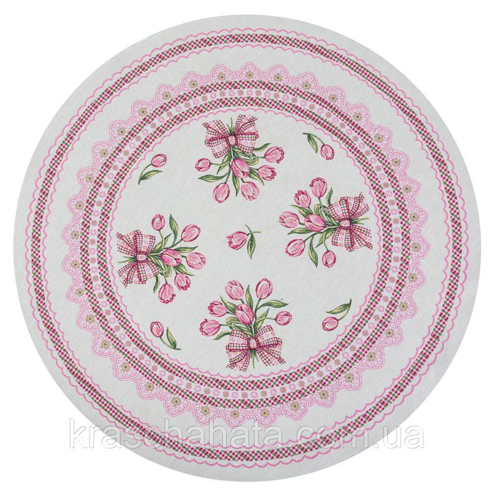 Скатерть гобеленовая круглая, Тюльпаны, Диаметр 180 см, Эксклюзивные подарки, Столовый текстиль