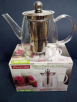 Заварочный чайник стеклянный с металлическим фильтром Kamille Thermo 600 мл KM-1603