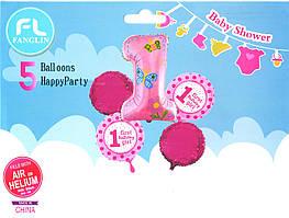 """Набор шаров """"My 1 st Birthday"""" розовый. В упак:5шт."""