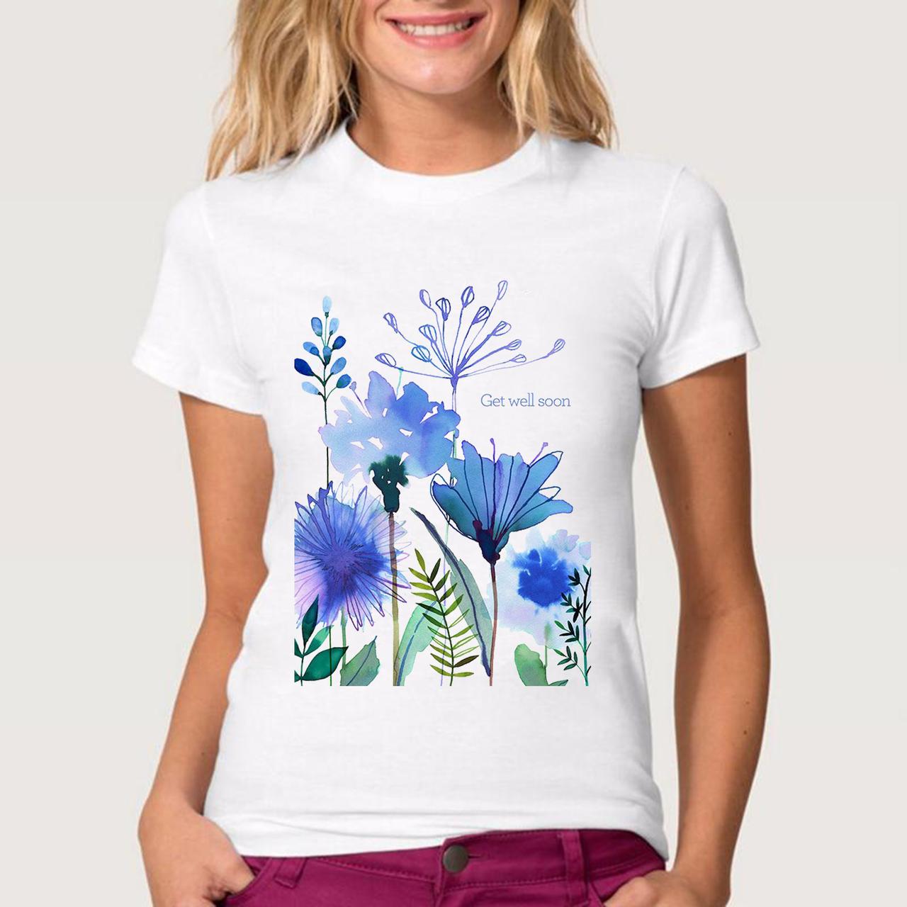 Футболка женская голубые цветы