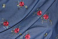 Ткань джинс летний(цветная вышивка)цветочки