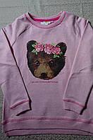 Свитшот для девочки от 5 до 8 лет , джемпер розовый с начесом принт мишка в веночке