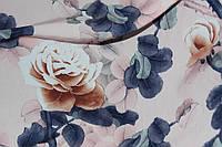Ткань супер софт, розы цвет, персик кремовый №02 фон