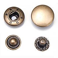 100 штук 1.5cm Бронзовый застежка-молния застежка Кнопки Пресс-шпильки для швейной машинной одежды