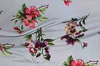Серый фон.Ткань супер софт, цветы имитация вышивки №03, фото 1