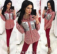 Женская рубашка в клетку / коттон, пайетка / Украина, фото 1
