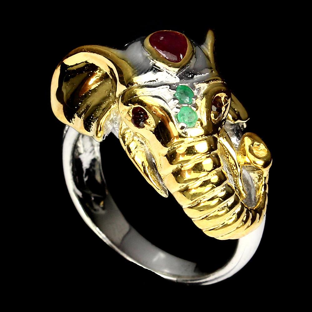 Серебряное кольцо с натуральными Изумрудами и Рубинами
