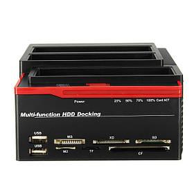 UK 2.5 3.5 Многофункциональный USB 3.0 для SATA IDE HDD SSD Hard Drive Enclosure Clone Card Reader Hub-1TopShop