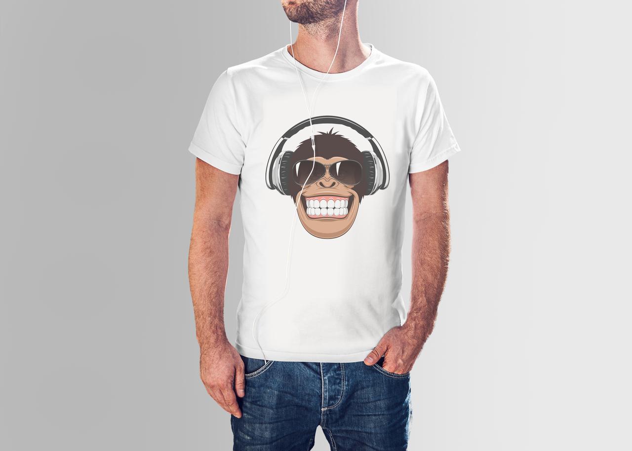 Футболка мужская обезьяна в наушниках