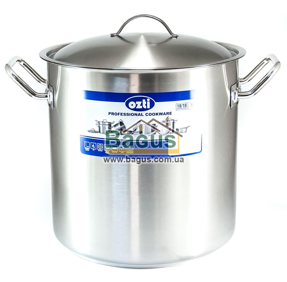 Каструля 17л 28х28см професійна з нержавіючої сталі з кришкою, індукція Ozti 1-2828