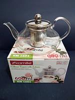 Заварочный чайник стеклянный с металлическим фильтром Kamille Thermo 600 мл KM-1601