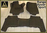Коврики для Range Rover Sport Кожаные 3D (кузов №1 / 2005-2013) Чёрные, фото 1