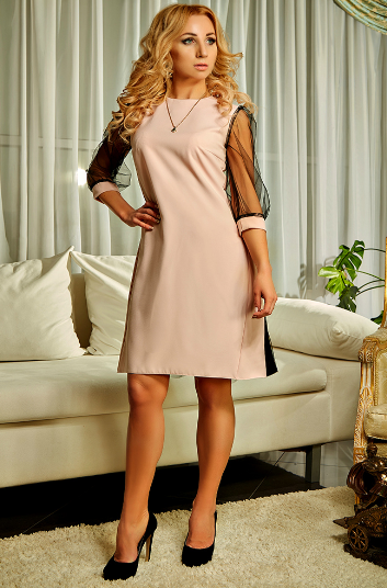 """Платье """"Карамель"""" цвета пудры в больших размерах"""