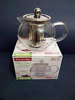 Заварочный чайник стеклянный с металлическим фильтром Kamille Thermo 400 мл KM-1600