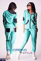 Спортивный костюм с вставками из экокожи в разных цветах 42-46р