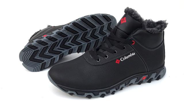 Мужские кожаные зимние ботинки Columbia (реплика),чёрные из натуральной  100% кожи , подошва высокая из термостойкого каучука,внутри мех  комбинированный с ... eb80d494184