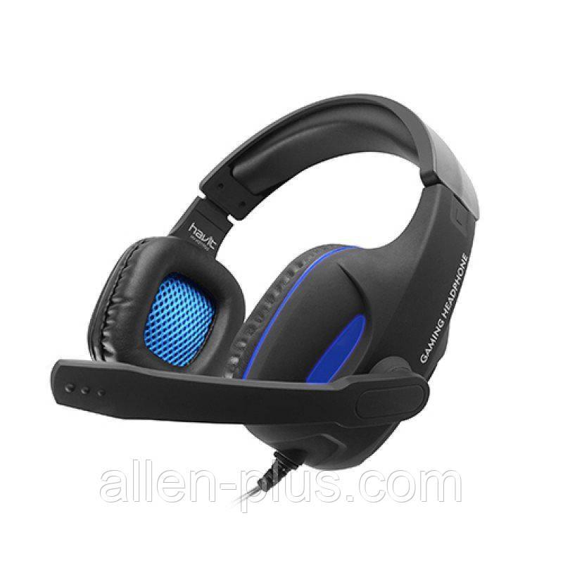 Наушники игровые с микрофоном и подсветкой HAVIT HV-H2190D GAMING, black/blue