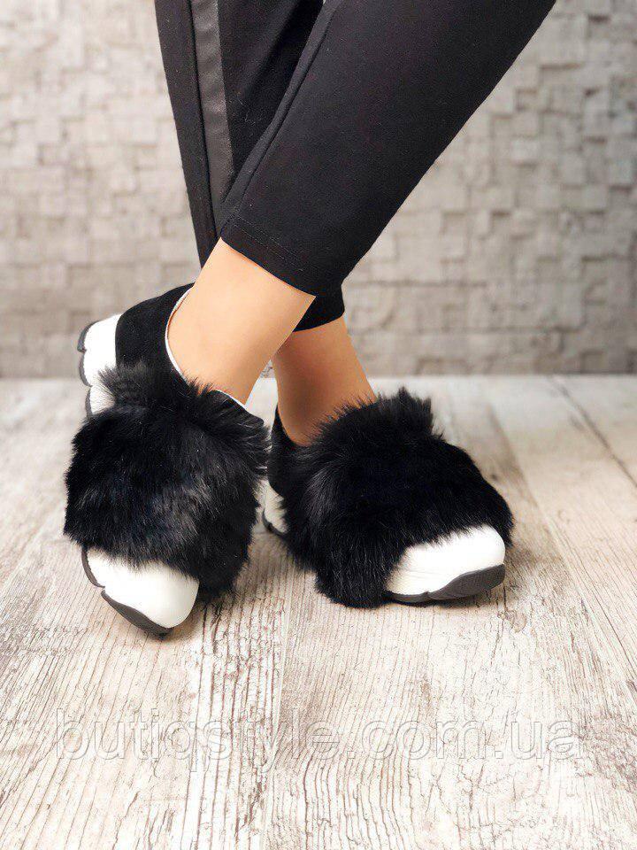 37 размер! Женские модные черные слипоны натуральный замш с мехом кролика