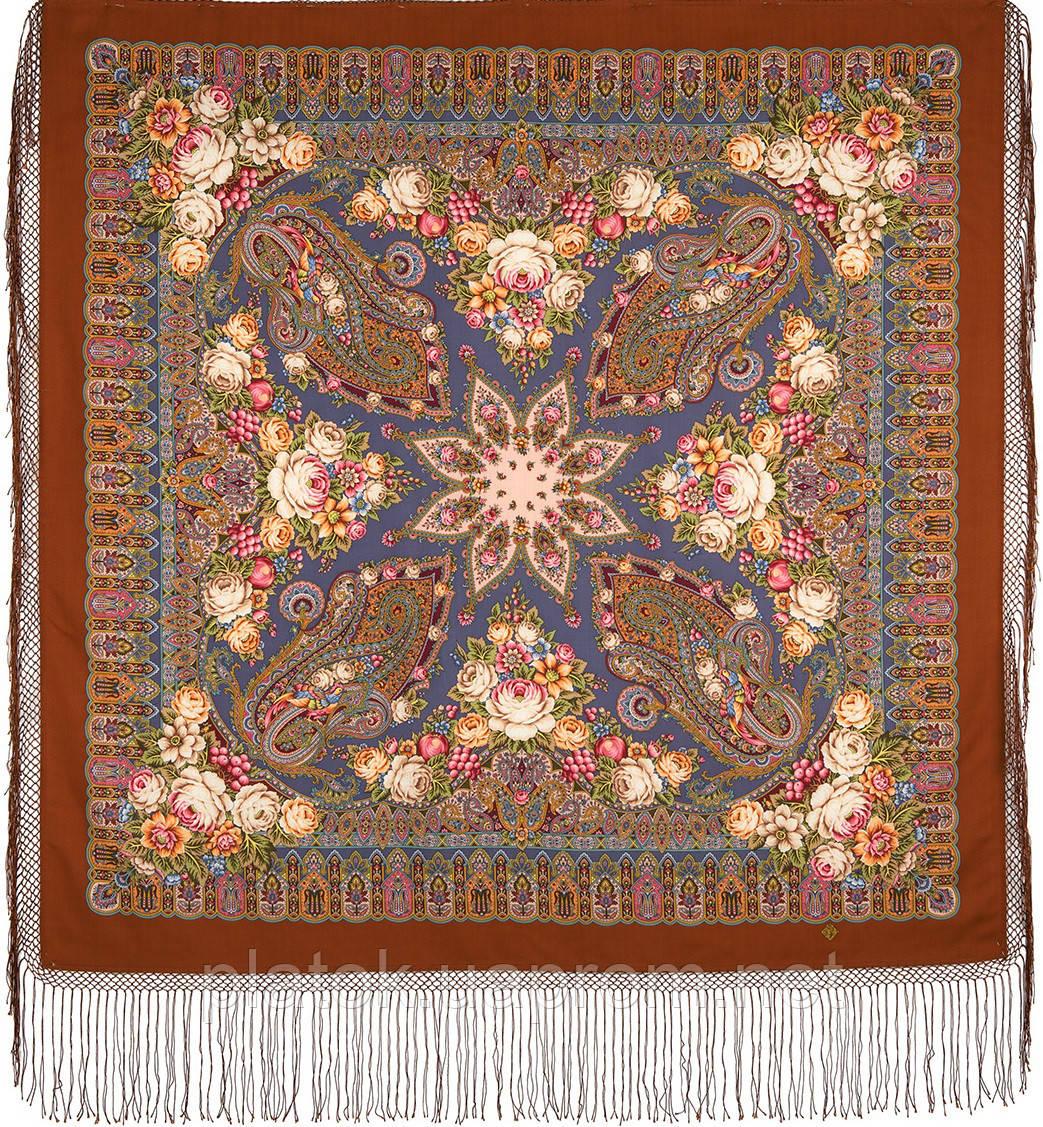 Сад дивных снов 1703-16, павлопосадский платок (шаль) из уплотненной шерсти с шелковой вязанной бахромой