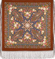 Сад дивных снов 1703-16, павлопосадский платок (шаль) из уплотненной шерсти с шелковой вязанной бахромой, фото 1