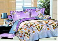 Постельное белье 35 поплин 100% хлопок ТМ Вилюта Украина сиренево-голубой, яблони цветут