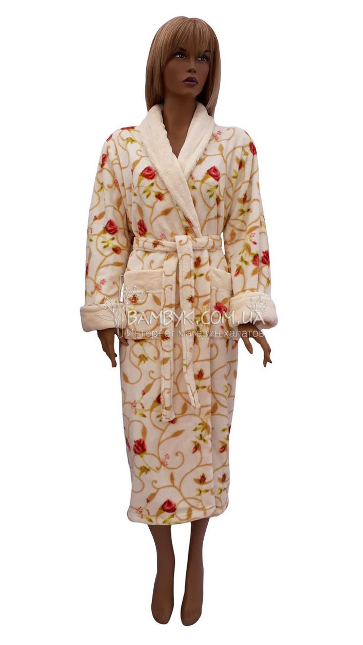 dfe574a5c0dd Длинный теплый халат из микрофибры (женский) Nusa NS-12055 - интернет- магазин