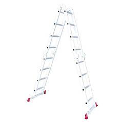 Лестница алюминиевая мультифункциональная трансформер 4*4ступ. 4.62м LT-0029 Intertool