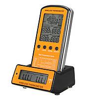 Беспроводная связь Дистанционный Термометр с двойным Зонд цифровым грилем для приготовления мяса Термометр с таймером