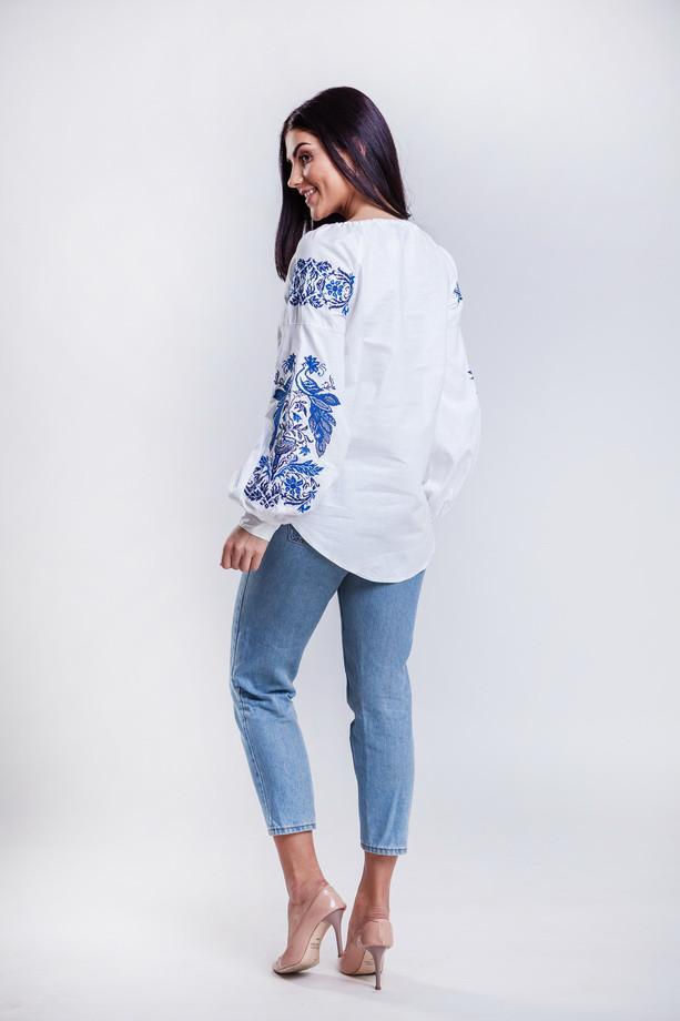 Белая женская рубашка вышиванка Жарптица