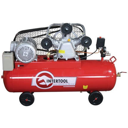 Компрессор 100л, 5HP, 4кВт, 380В, 8атм, 600л/мин. 3 цилиндра PT-0036 Intertool, фото 2