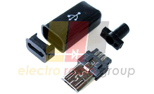 Штекер micro USB 5pin, под шнур угловой, бакелит, белый (черный)