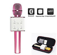 Беспроводной Bluetooth микрофон караоке Q7+ чехол, фото 1