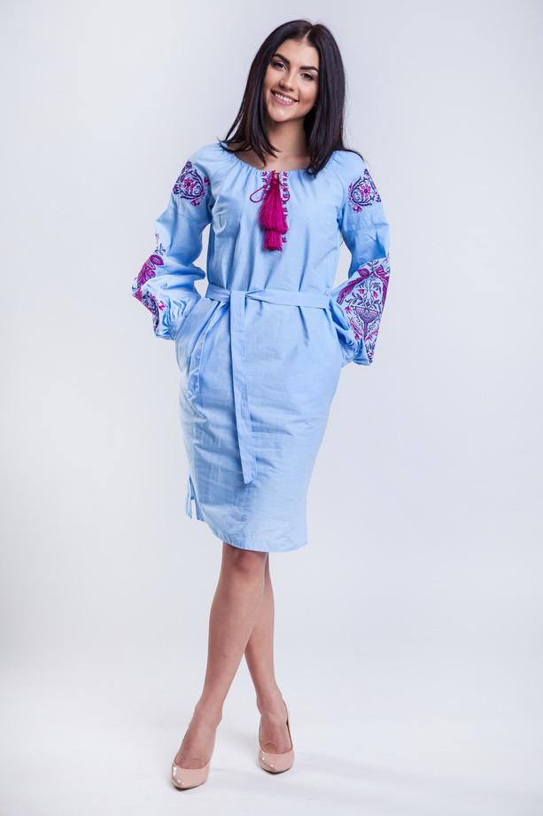 Вышитые платья в украинском стиле Жар Птица розовая