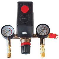 Прессостат 220В в сборе (прессостат, редуктор, 2 манометра, предохранительный клапан, два выхода) PT-9094 Intertool