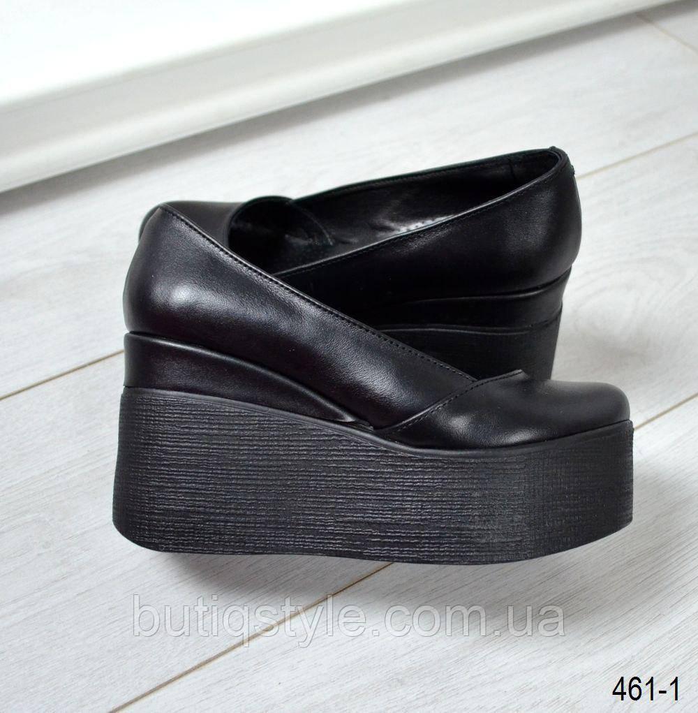 36, 38, 40 размер! Модные женские черные туфли на черной рельефной танкетке натур кожа