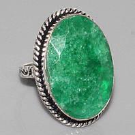 Кольцо с камнем изумруд в серебре. Изумрудное кольцо. Индия!, фото 1
