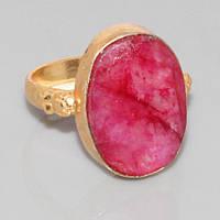 Рубин кольцо с натуральным рубином в позолоте 19-19.5 размер, фото 1