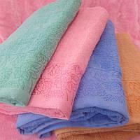 Большое банное махровое полотенце Цветы 70-140