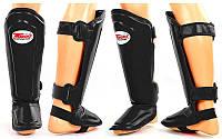 Защита для голени и стопы Муай Тай, ММА, Кикбоксинг кожаная TWINS SGL-10-BK-S (р-р S, черный)