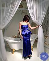 Синее длинное вечернее платье