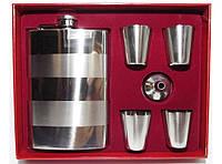 NF4-20 Набор: фляга + 4 стопки + лейка, Подарочный набор фляга и рюмки, Фляжка из нержавейки 240 мл
