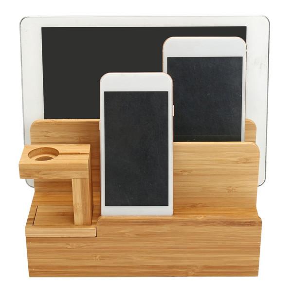 Бамбуковая зарядная док-станция Stand Holder Органайзер Для планшета Smart Phone Apple Watch-1TopShop