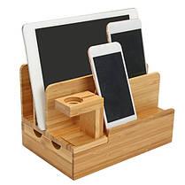 Бамбуковая зарядная док-станция Stand Holder Органайзер Для планшета Smart Phone Apple Watch-1TopShop, фото 3