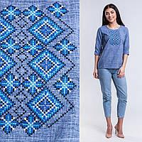 Джинсовая блуза для девочки подросток с вышивкой Орнамент